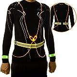 Deercy LED Light Reflective Vest, 2 LED Wristbands, Free Design LED Light Ring, LED Light Bag Hanging, For Running, Jogging, Cycling, Hiking, Party (orange)