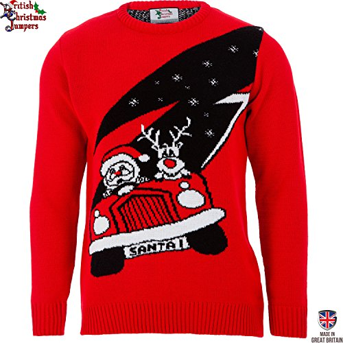 Santa's New Ride - Mens Christmas Sweater by British Christmas Jumpers (XXL)