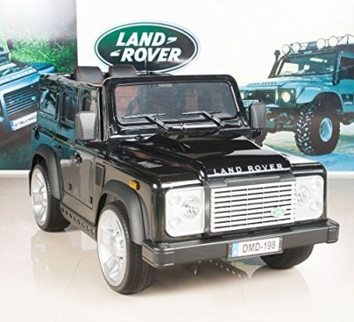 Land-Rover-Defender-Kids-Ride-On-TruckCar-12V-Electric-Powered-Wheels-with-RC-Remote-Control-Black