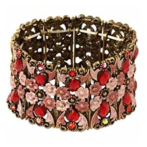 Antique Gold and Red Crystal and Flower Stretch Bangle Fashion Bracelet