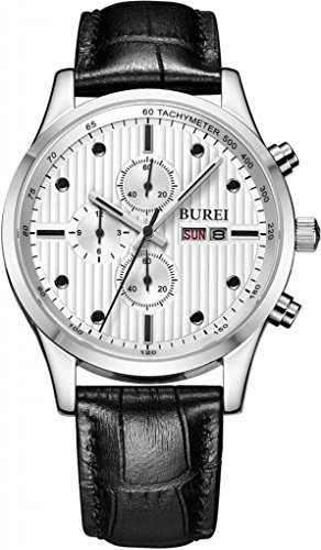 BUREI Men's BM-7001-01A Day and Date Multifunction Chronograph Leather Band Watch (Black)