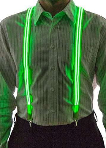 Men's Light Up LED Stripe Suspenders, One Size