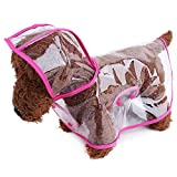TOPSUNG Waterproof Puppy Raincoat Pink Transparent Pet Rainwear Clothes for Small Dogs/Cats, Size XS