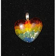 Rainbow Heart Pendant Handmade Fused Glass Valentines Day Necklace