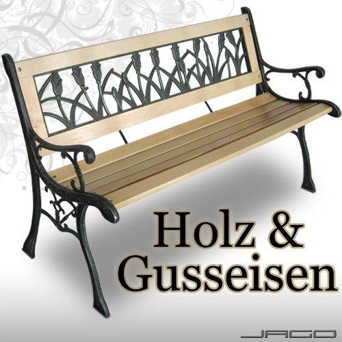 Tulpendesign Gartenbank Sitzbank Gartenmöbel Holzbank Bank Parkbank Hartholz Gusseisen
