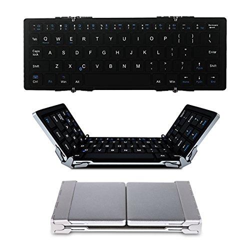 EC Technology Bluetooth3.0 折りたたみ式Bluetoothワイヤレスキーボード 超薄型アルミ合金 内蔵電池 Windows/iOS/Android切替