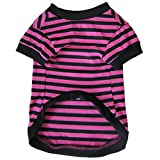 Dog Shirt, HP95(TM) 2015 Fashion Summer Pet Dog Classic Wide Stripes T-shirt, Doggy Clothes Cotton Shirts (Rose, S)