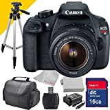 Canon T5 with Canon 18-55mm Lens, Rebel EOS Digital Camera Body with Extra Battery, Charger , Full Size Tripod, Camera Case and 16GB SDHC Class 10 Memory Card and Card Reader