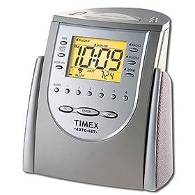 Timex T311T Auto-Set Dual-Alarm Clock Radio (Titanium)