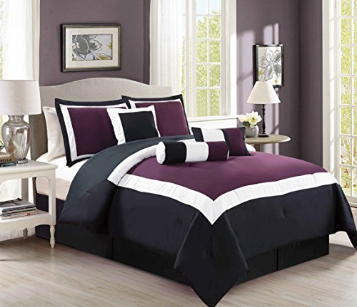 Oversize Purple Block Comforter Set