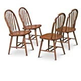 4 Dark Oak Stain Kitchen Dining Arrow Back Chairs Set