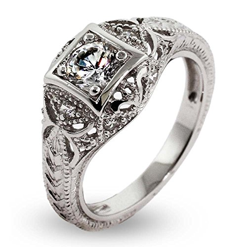 Vintage Deco Style Sterling Silver CZ Engagement Ring