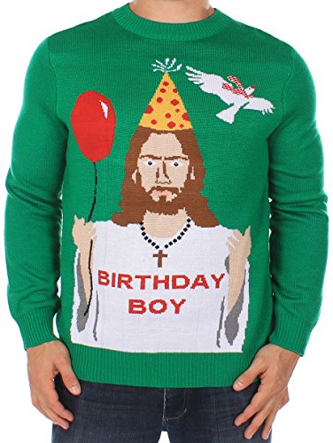 Men's Ugly Christmas Sweater - Happy Birthday Jesus Sweater Green Size L