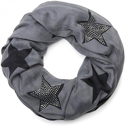 styleBREAKER Loop Schlauchschal mit Sterne Muster und edler Strass Applikation, Damen 01018086