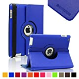 SAVEICON (TM) 360 Degrees Rotating Lychee Leather Case Smart Cover with Stand and Sleep/Wake Function for Apple iPad 4 with Retina Display, iPad 3/2 (iPad 2/iPad 3/iPad 4 Rotating, Royal Blue)
