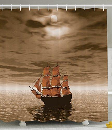 shower curtains nautical pirate ship sailboat rustic shower curtain fabric bathroom decor set home garden citricauca com