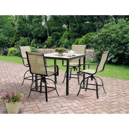 where to buy 5 piece high patio furniture dining set square tiles balcony bar table 4 swivel chairs seats 4 claudette lochner
