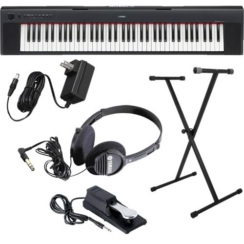 Yamaha Piaggero NP31 Keyboard HOME BUNDLE w/ Stand, Pedal & Headphones