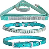WwWSuppliers Teal Green PU Leather Crocodile Bling Dog Puppy Pet Adjustable Collar & Teal Green Bling Leash Lead Elegant Flashy Dazzling Fancy Diva Luxury Fashion Combo (Extra Small)