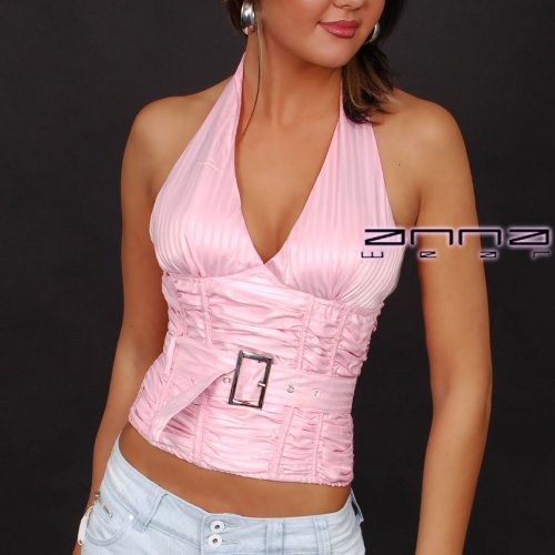 Corsage-Neck-Top in rosa