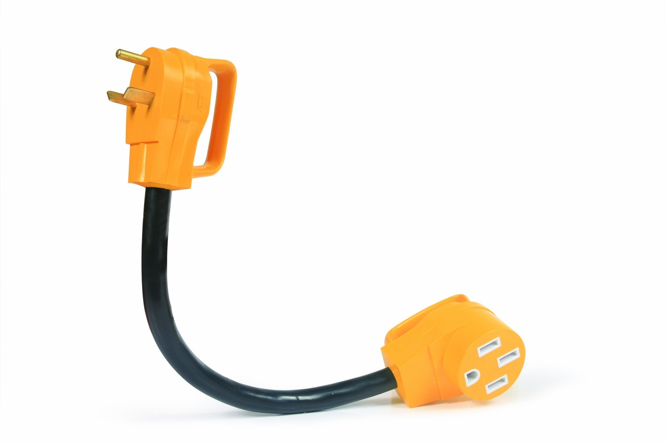 """Amazon.com: Camco 55185 PowerGrip 30M/50F AMP 18"""" Dogbone Electrical Adapter This gizmo allows us to plug our 50 AMP power cord into a 30 AMP power outlet. Super handy."""