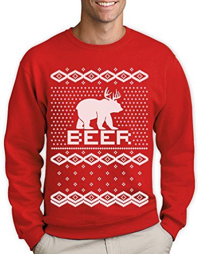 BEAR + DEER = BEER — Witziger Weihnachtspulli Sweatshirt