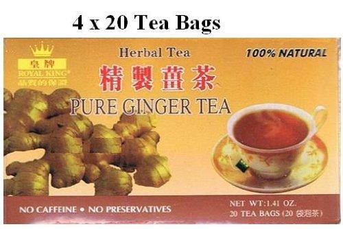 Royal King - Pure Ginger Tea - No Sugar - 4x20 Tea Bags