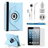 GEARONIC TM iPad Mini 5-in-1 Accessories Bundle Rotating Case for Business and Travel, Light Blue