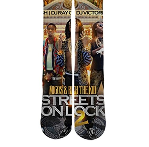 Dopesox Mens Migos Young Rich Mixtape Sublimated Socks One Size (6-12) White