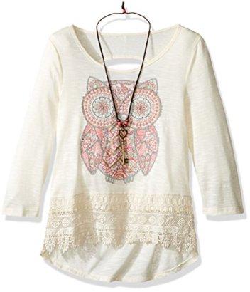 Beautees-Girls-Big-Girls-Long-Sleeve-Top-Crochet-Hem-Screen-Tee-Natural-M