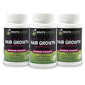 white arrow hair growth vitamin supplement with 5000mcg biotin to support faster