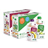 Happy Baby Organic Baby Food 2 Simple Combos, Bananas, Beets & Blueberries and Broccoli Pears & Peas, 4 Ounce (Pack of 16)