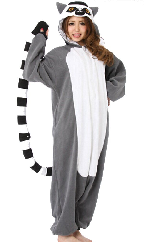 Lemur Catta Adult Unisex Animal Kigurumi Cosplay Costume Pajamas Onesies