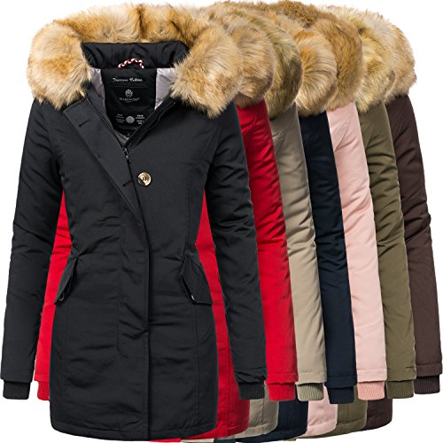 Marikoo Karmaa Damen Winter Mantel mit Kunstpelz Kapuze