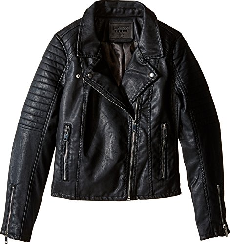 Blank NYC Kids Girl's Vegan Leather Moto Jacket in Black Cat (Big Kids) Black Outerwear MD (Big Kids)