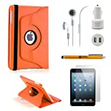 Gearonic iPad Mini 5-in-1 Accessories Bundle Orange Rotating Case Business Travel Combo