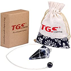 TGS Gems® Sodalite Crystal Pendulum Bead End Reiki Energy Healing Free Pouch