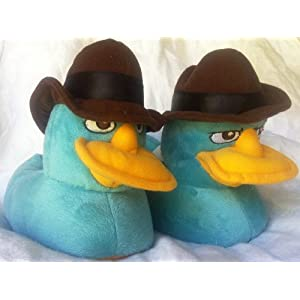 Disney Phineas and Ferb Agent P Perry the Platypus Plush Soft Warm Slippers, Great Halloween Costume Accessory Kids Shoe Size 2-3