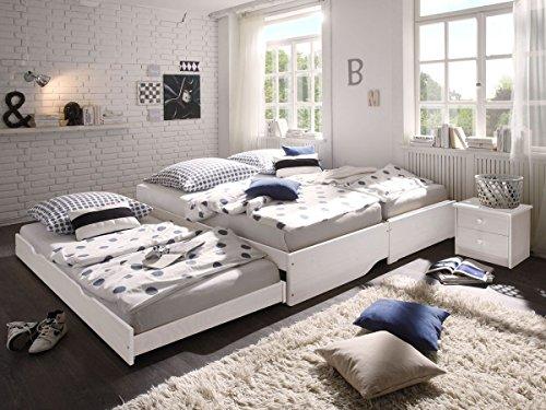 Kinderbett weiß 90x200, CRAVOG Aufklappbar lackiert Massivholz Holzbett mit Rollrost für Kinder und Gäste, 3pcs Betten