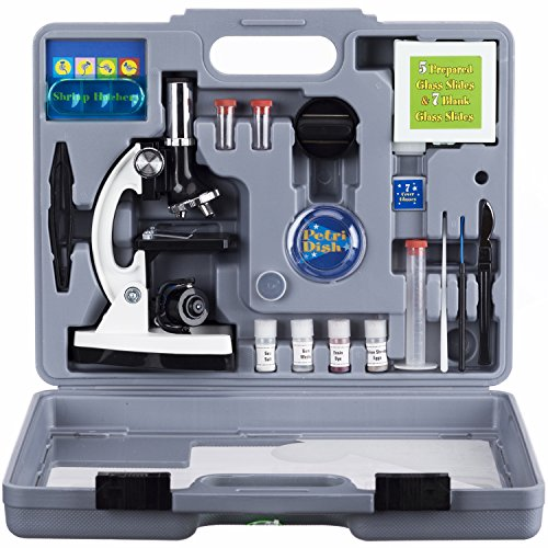 AMSCOPE-KIDS M30-ABS-KT2-W Beginner Microscope Kit, LED and Mirror Illumination, 300X, 600x, and 1200x Magnification, Includes 52-Piece Accessory Set and Case, White