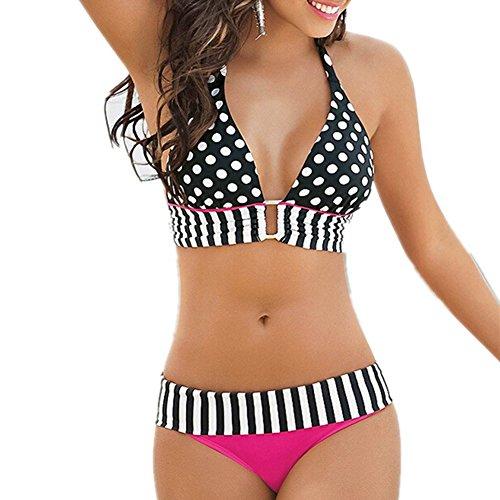 Women Swimsuit Egoshop Polka Dots Design Sexy Girl Beach Middle Waist Bikini Swimwear