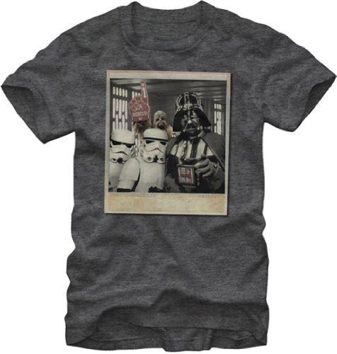 Star Wars Wookie Photo Bomb Mens Charcoal Heathered Tee (X-Large)