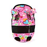Urparcel Dog Puppy Canvas Mesh Carrier Front Bag Backpack Cozy Travel Tote Bag Pink Love Small