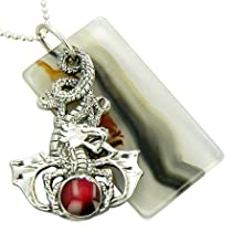 Magic Circle of Protection Dragon Agate Amulet Silver Necklace