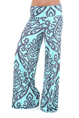 Boutique-Republic-Womens-MULTICOLORED-TWO-TONE-DAMASK-PRINTED-PALAZZO-PANTS-GREYMINT-M