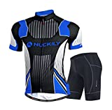 Nuckily Men's Cycling Sports Jersey short Sleeve Bike Clothing Sportswear Set Breathable Quick Dry