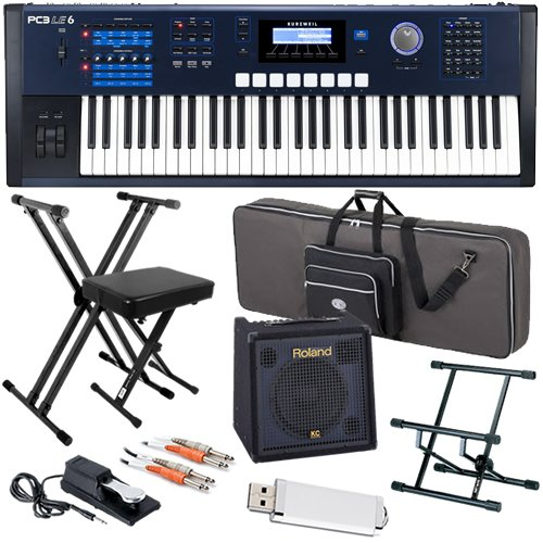 Kurzweil PC3LE6 Keyboard STAGE BUNDLE w/ Amp, Case, Stand, & Bench