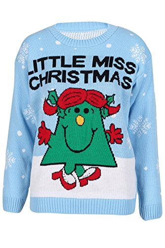Ladies Girls 'Little Miss' Christmas Knitted Jumper Size Small to XL (X/L (USA 14-16), Powder Blue)