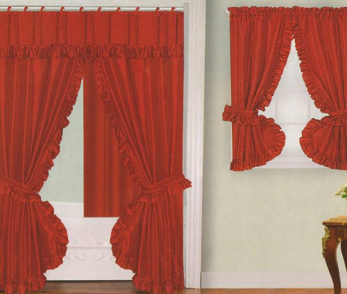 bathroom window curtains red fabric double swag shower curtain with matching window curtain and vinyl liner