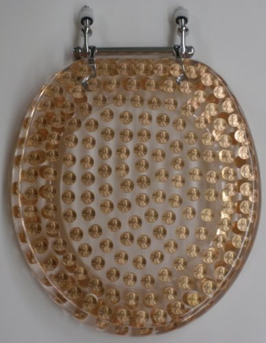 REAL U.S. PENNIES COINS MONEY LUCITE RESIN TOILET SEAT , Elongated Size Penny Toilet Seat (14.5